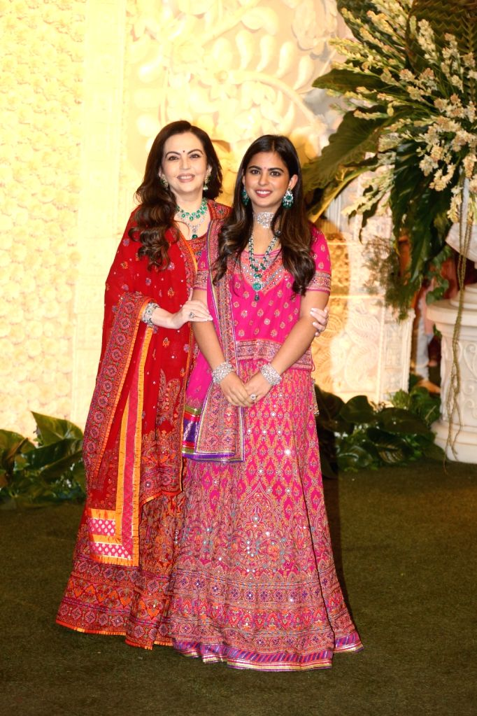 Reliance Foundation Chairperson and Founder Nita Ambani with her son Anant Ambani's rumoured girlfriend Radhika Merchant at the Ganesh Chaturthi celebrations organised at Reliance Industries ... - Nita Ambani, Anant Ambani and Mukesh Ambani