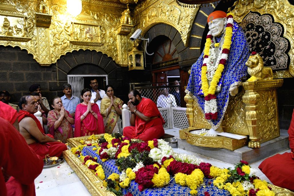 Reliance Foundation Chairperson Nita Ambani pays obeisance at Shirdi Sai Baba Temple in Ahmednagar of Maharashtra on May 16, 2017.