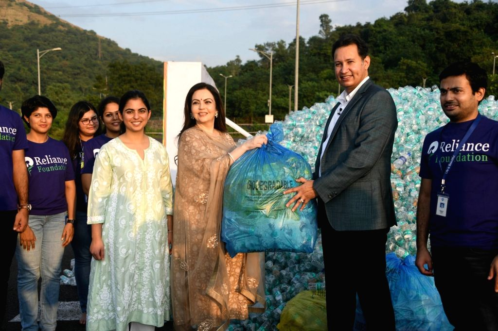 Reliance Foundation Founder and Chairperson Nita M Ambani and Reliance Retail and Reliance Jio Infocomm Isha Ambani at the culmination of a drive to collect PET bottles across India, in ... - Nita M Ambani
