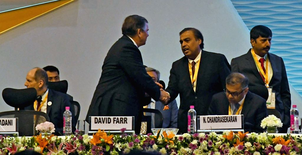 "Reliance Industries Chairman and Managing Director Mukesh Ambani during ""Vibrant Gujarat Global Summit 2019"" in Gandhinagar on Jan 18, 2019. - Mukesh Ambani"