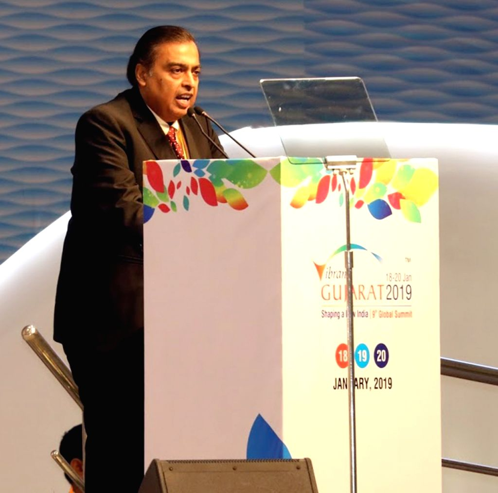 "Reliance Industries Chairman and Managing Director Mukesh Ambani addresses at ""Vibrant Gujarat Global Summit 2019"" in Gandhinagar on Jan 18, 2019. - Mukesh Ambani"