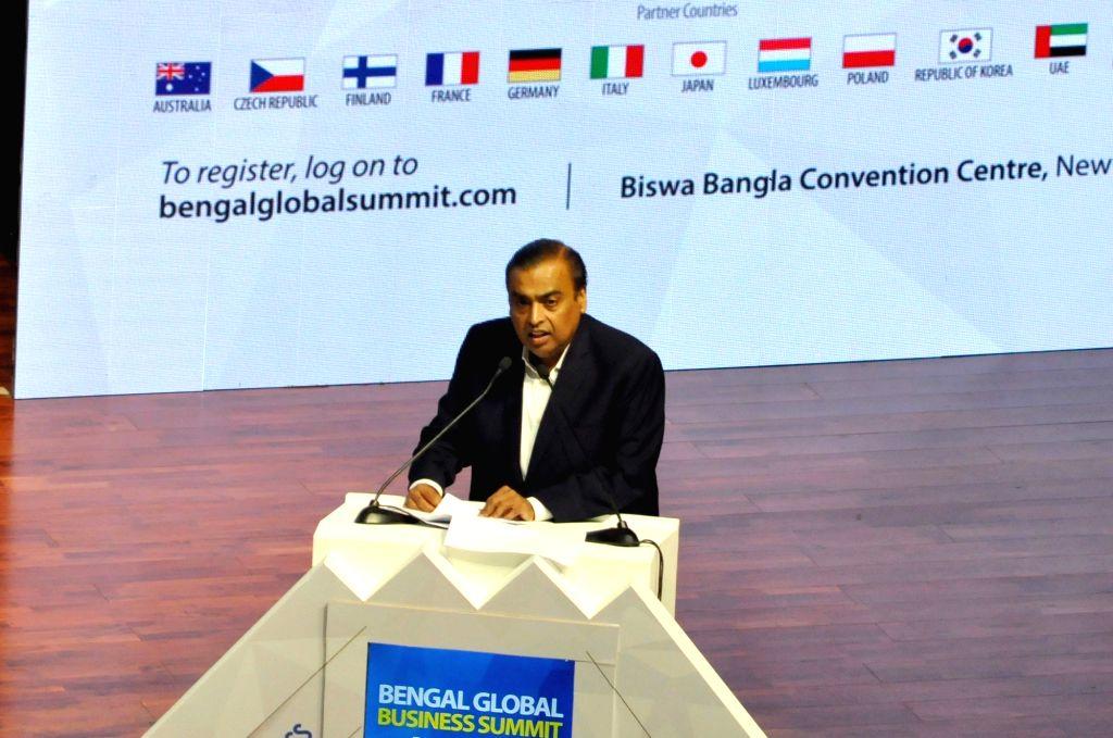 Reliance Industries Chairman and Managing Director Mukesh Ambani addresses during Bengal Global Business Summit 2019 in Kolkata, on Feb 7, 2019. - Mukesh Ambani