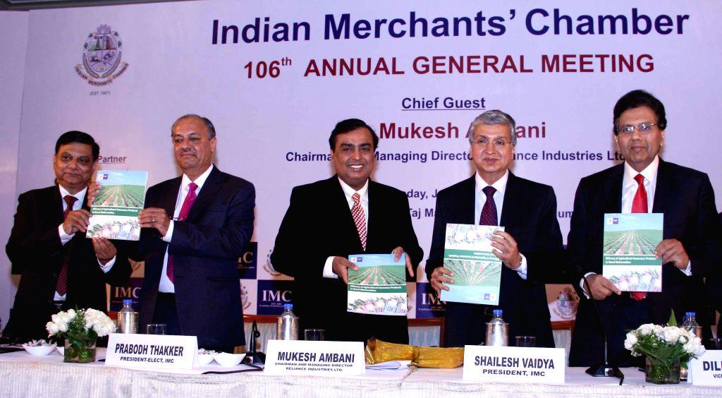 Reliance Industries Ltd (RIL) Chairman and Managing Director Mukesh Ambani during the 106th Annual General Meeting of Indian Merchant Chamber in Mumbai on June 19, 2014. - Mukesh Ambani