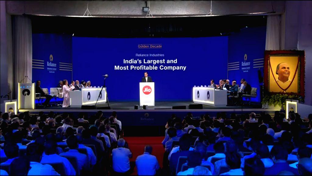 Reliance Industries (RIL) Chairman Mukesh Ambani addresses at company's 42nd Annual General Meeting in Mumbai on Aug 12, 2019. - Mukesh Ambani