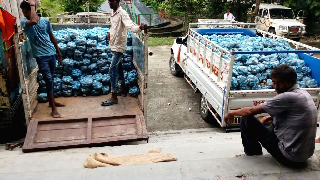 Relief material being readied for flood victims in Motihari, Bihar on Aug 17, 2017.