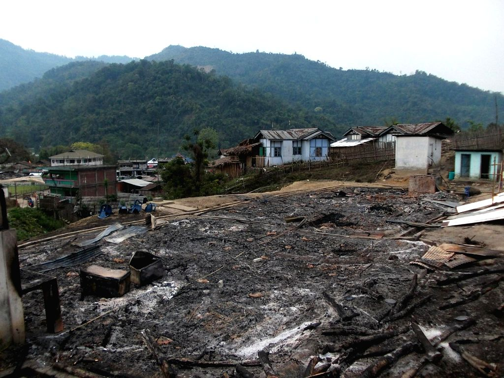 Remains of the houses belonging to Congress supporters which were destroyed in a fire at Takar Marde in Dumporijo of Arunachal Pradesh on April 16, 2014.