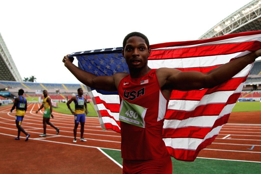 Remontay McClain of the United States celebrates his victory after men's 100m of NACAC's Athletics Championship 2015, at Nacional Stadium, of San Jose City, capital ...