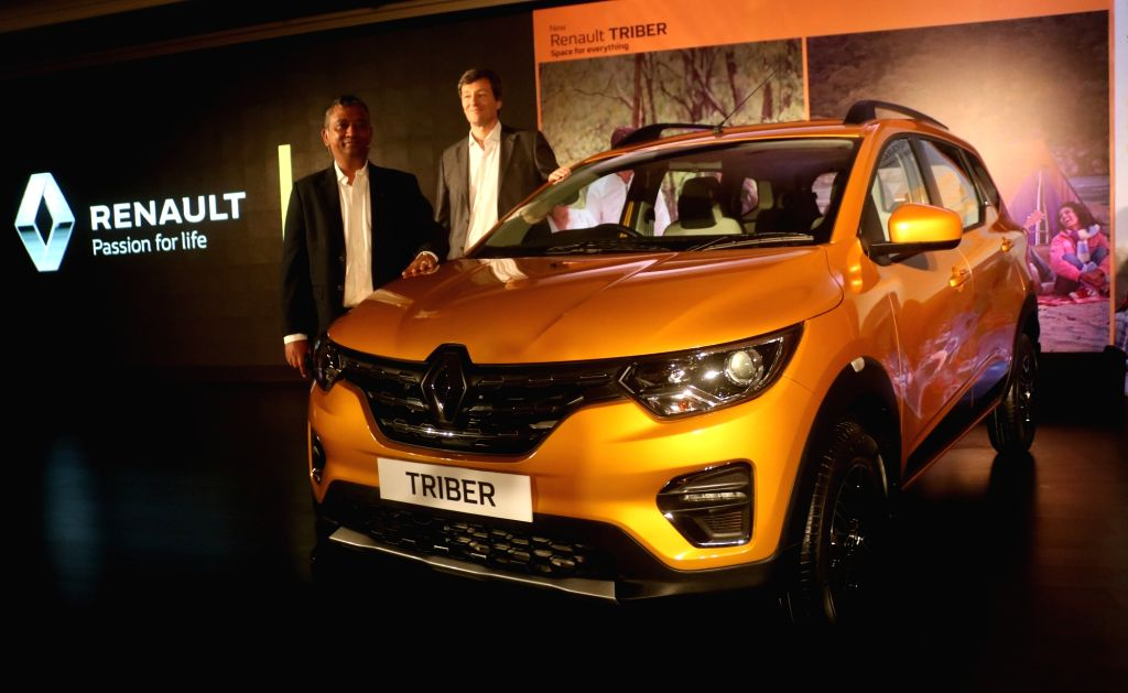Renault India MD and CEO Venkatram Mamillapalle and Vice President (Sales and Marketing) Thomas Dubruel at the launch of Renault Triber in New Delhi on Aug 28, 2019.