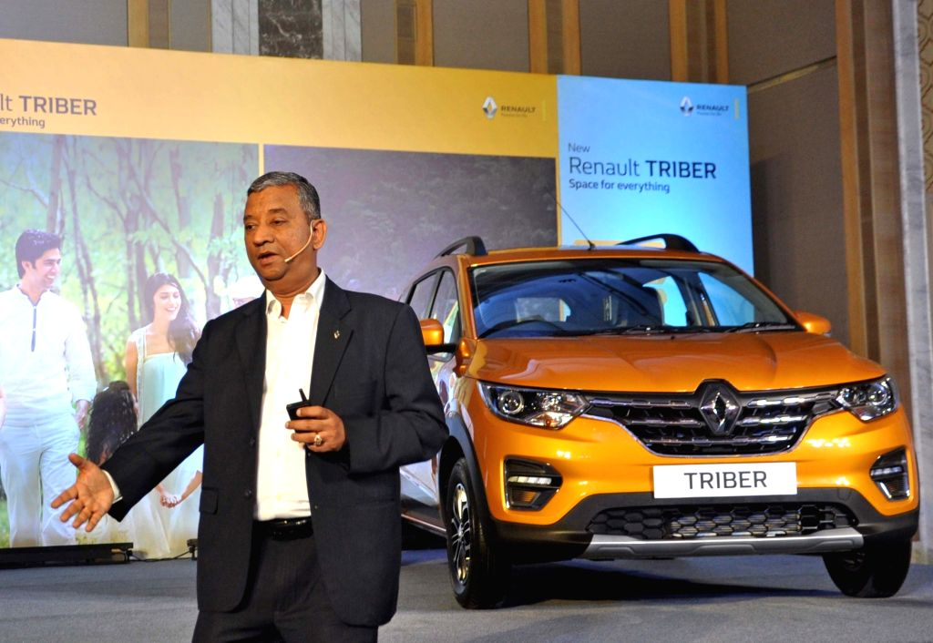 Renault India Operations Country CEO and MD Venkatram Mamillapalle addresses at the launch of Renault Triber in Kolkata on Aug 29, 2019.