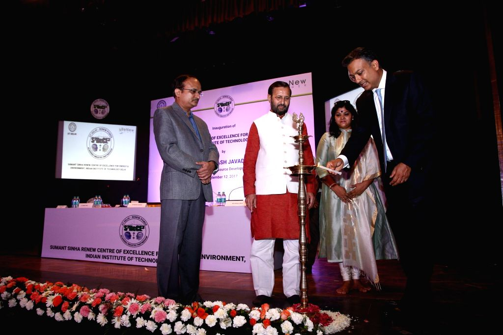 ReNew Power Chairman and CEO Sumant Sinha lights the lamp during the launch of 'Sumant Sinha ReNew Centre of Excellence for Energy and Environment' by ReNew Power in collaboration with ... - Sumant Sinha R