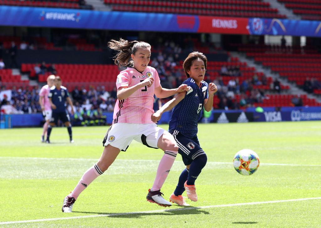 RENNES, June 14, 2019 - Caroline Weir (L) of Scotland vies with Mana Iwabuchi of Japan during the group D match between Japan and Scotland at the 2019 FIFA Women's World Cup in Rennes, France, June ...
