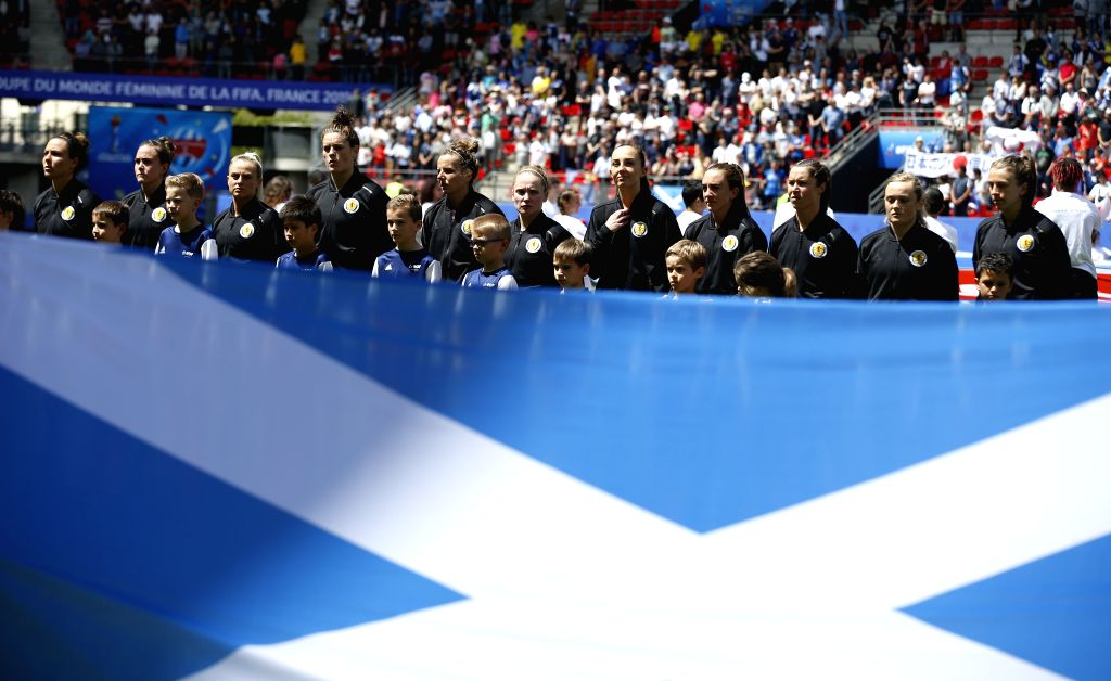RENNES, June 14, 2019 - Players of Scotland line up before the group D match between Japan and Scotland at the 2019 FIFA Women's World Cup in Rennes, France, June 14, 2019.