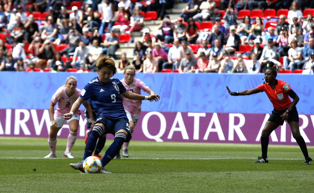 RENNES, June 14, 2019 - Yuika Sugasawa (Front) of Japan kicks the penalty during the group D match between Japan and Scotland at the 2019 FIFA Women's World Cup in Rennes, France, June 14, 2019.