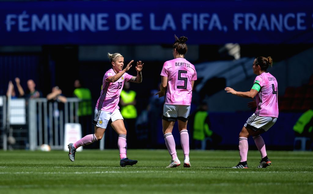 RENNES, June 15, 2019 - Lana Clelland (L) of Scotland celebrates scoring with her teammates during the group D match between Japan and Scotland at the 2019 FIFA Women's World Cup in Rennes, France, ...