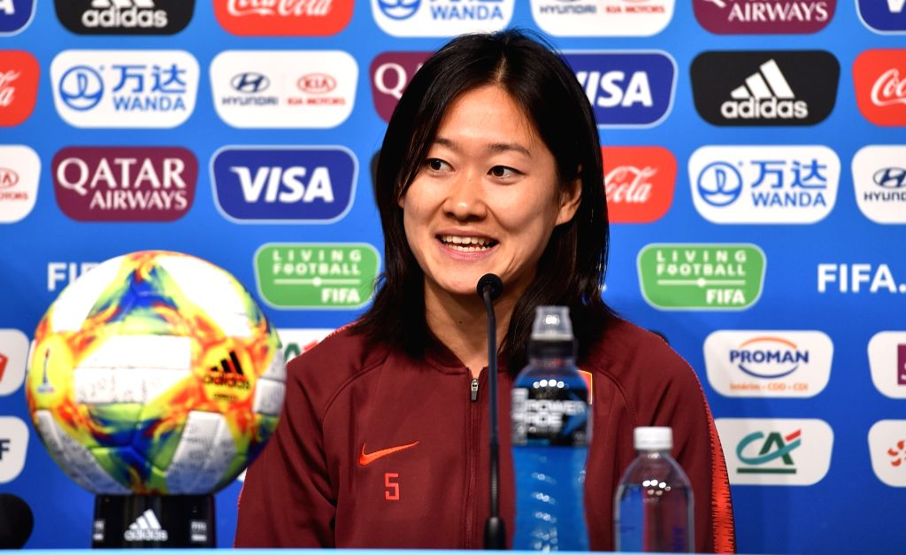 RENNES, June 7, 2019 - Captain Wu Haiyan of China attends a press conference ahead of the group B match between China and Germany at the 2019 FIFA Women's World Cup in Rennes, France, June 7, 2019. - W