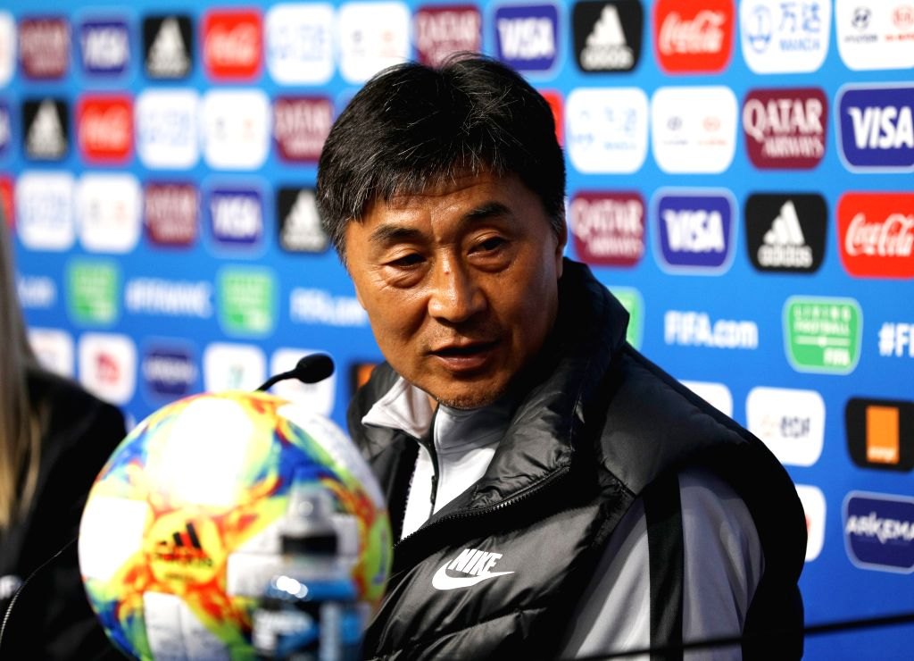 RENNES, June 7, 2019 - Head Coach Jia Xiuquan of China attends a press conference ahead of the group B match between China and Germany at the 2019 FIFA Women's World Cup in Rennes, France, June 7, ...