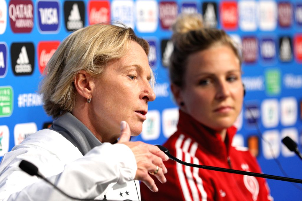 RENNES, June 7, 2019 - Head Coach Martina Voss-Tecklenburg (L) of Germany attends a press conference ahead of the group B match between China and Germany at the 2019 FIFA Women's World Cup in Rennes, ...