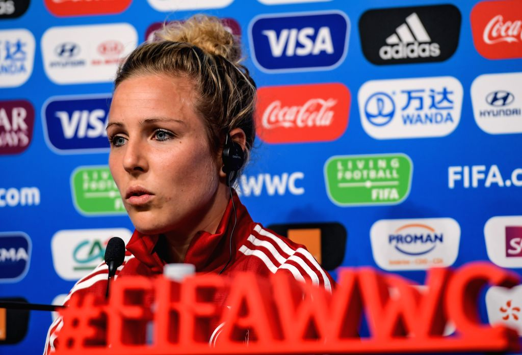 RENNES, June 7, 2019 - Svenja Huth of Germany attends a press conference ahead of the group B match between China and Germany at the 2019 FIFA Women's World Cup in Rennes, France, June 7, 2019.