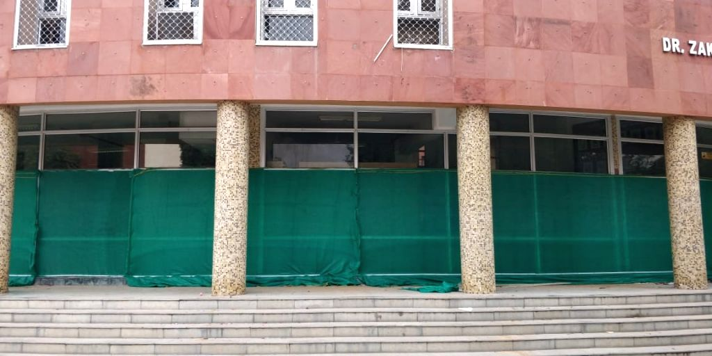Renovation work of Dr Zakir Husain Library at the Jamia Millia Islamia (JMI) University that was vandalised in December last year during clashes over anti-CAA protests; underway in New ...