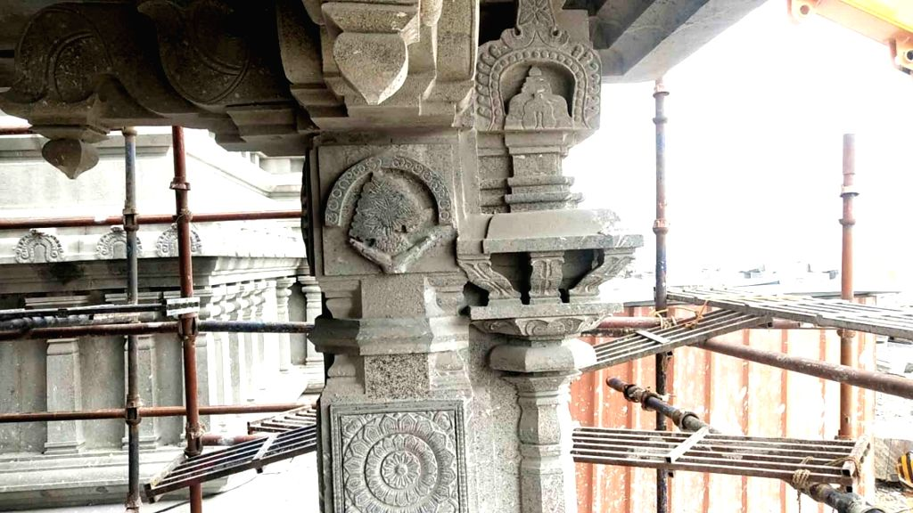 Renovation work underway at Yadadri Sri Lakshmi Narasimha Swamy Temple in Yadagirigutta, Telangana on Sep 6, 2019.
