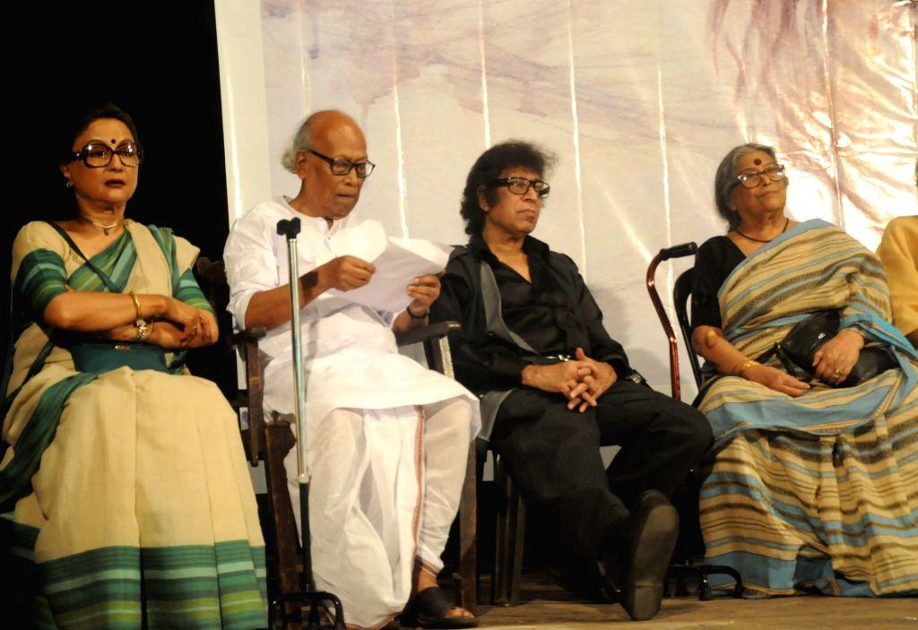 Renowned Bengali actress and filmmaker Aparna Sen, poet Sankha Ghosh, artist Wasim Kapoor, novelist and poet Nabaneeta Dev Sen and others during a meeting in Kolkata on Jun 18, 2019. - Wasim Kapoor, Sankha Ghosh and Nabaneeta Dev Sen