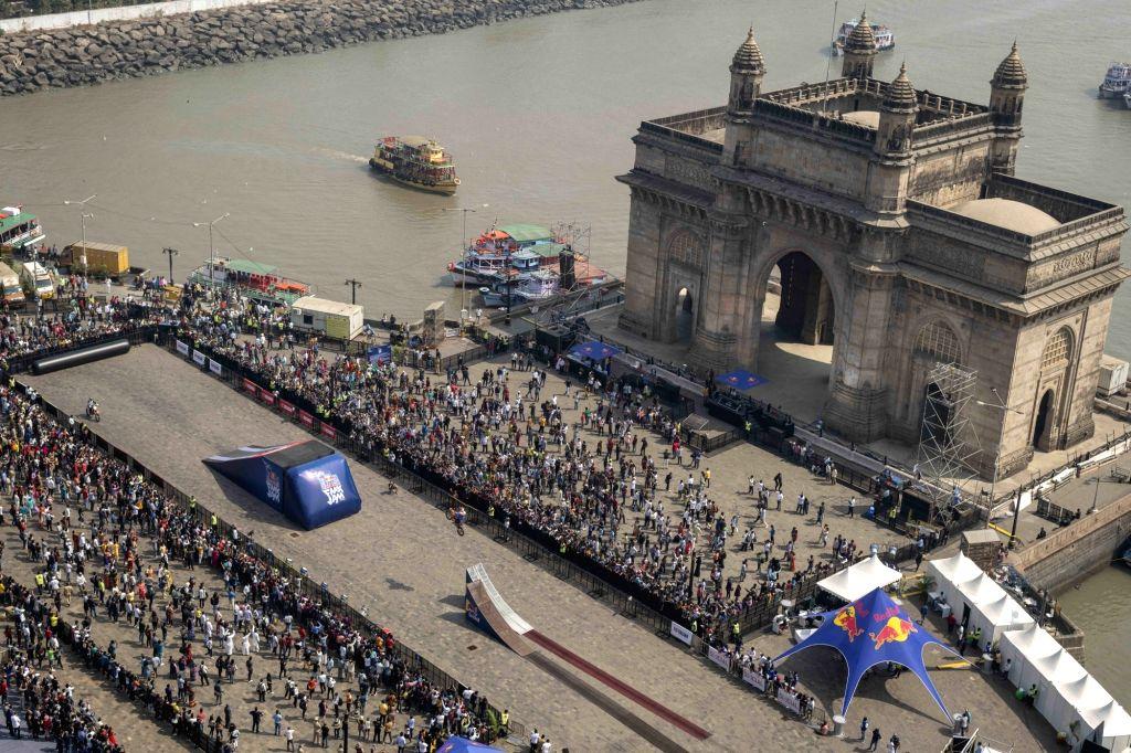 Renowned freestyle motocross Red Bull athletes showcase their octane biking skills during the Red Bull FMX Jam at Mumbai's Gateway of India on Feb. 2, 2019.