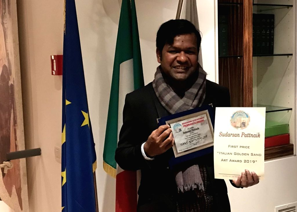 Renowned Indian sand artist Sudarsan Pattnaik has been given the Italian Golden Sand Art Award 2019. - Sudarsan Pattnaik