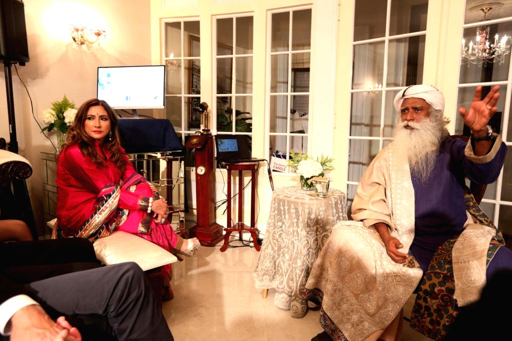 Renowned mystic and yogi Sadhguru Jaggi Vasudev at the residence of founder and CEO of The Giving Back Foundation Meera Gandhi in Manhattan, US.