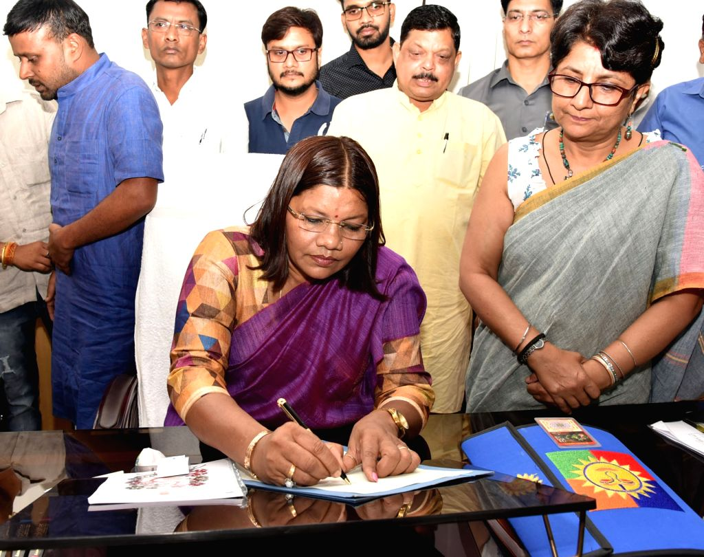 Renuka Singh Saruta takes charge as the Minister of State for Tribal Affairs, in New Delhi on June 3, 2019. - Renuka Singh Saruta