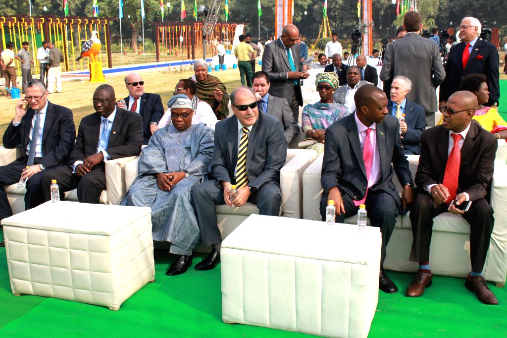 Representatives of African nations at the inauguration of India Africa Friendship Rose Garden in New Delhi, on Oct 25, 2015.