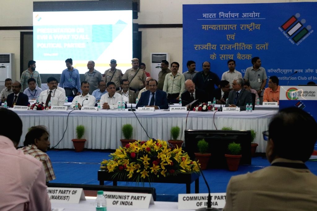 Representatives of all political parties at an all party meeting with the Election Commission on the issue of alleged EVM tampering in New Delhi on May 12, 2017.