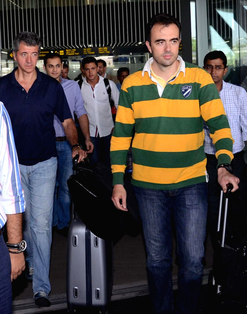 Representatives of Atletico Madrid arrives at Netaji Subhas Chandra Bose Airport in Kolkata on May 6, 2014.