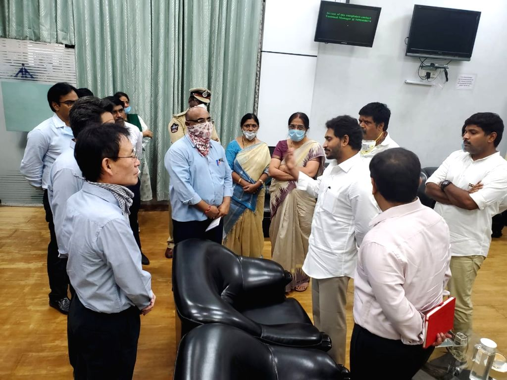 Representatives of LG Polymers meet Andhra Prdesh Chief Minister YS Jagan Mohan Reddy at Visakhapatnam International Airport after the leakage of Styrene gas from its plant in RR ... - Jagan Mohan Reddy