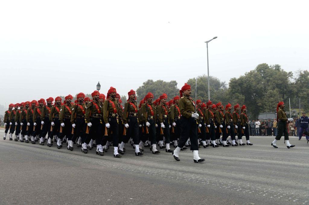 Republic Day rehearsals underway at Rajpath in New Delhi, on Jan 20, 2016.