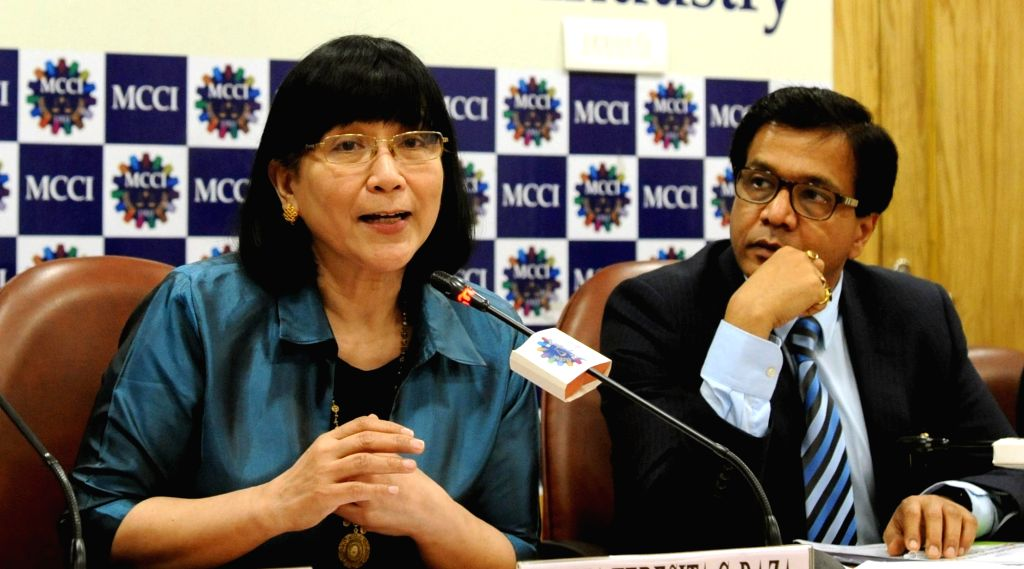 Republic of the Philippines Ambassador Maria Teresita C Daza addresses during an interactive session on 'Doing Business with Philippines', in Kolkata, on July 6, 2018. Also seen MCCI ...