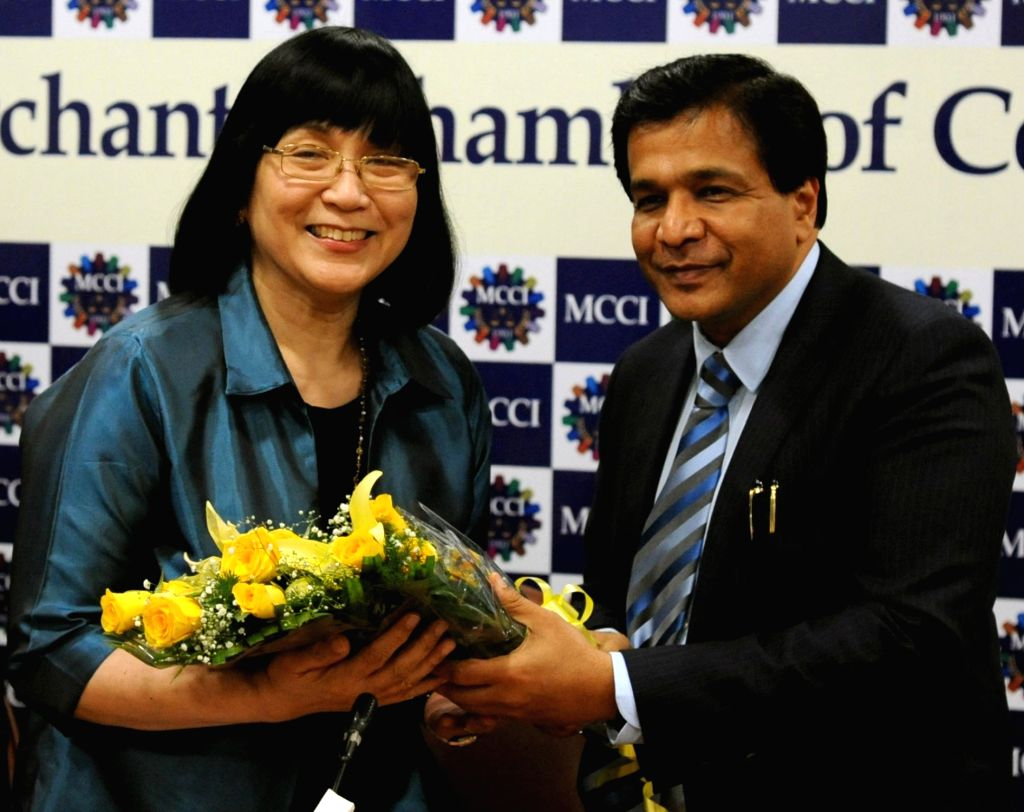 Republic of the Philippines Ambassador Maria Teresita C Daza and MCCI president Ramesh Agarwal during an interactive session on 'Doing Business with Philippines', in Kolkata, on July 6, 2018.
