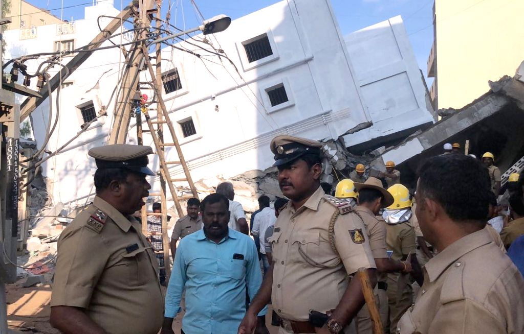 Rescue operation underway after a four-storey building under construction collapsed on Jail Road at Kasavanahalli in Bengaluru on Feb 15, 2018. Reportedly three labourers were died and ...