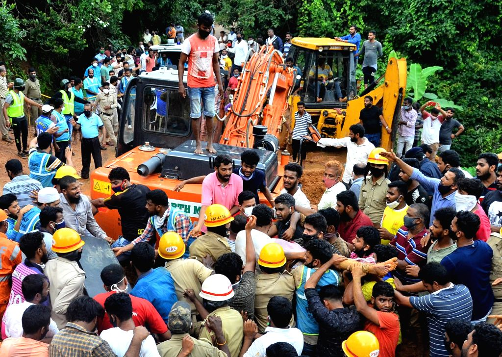 Rescue operation underway after a landslide occurred at Banglagudde in Gurupur near Mangaluru on July 5, 2020.