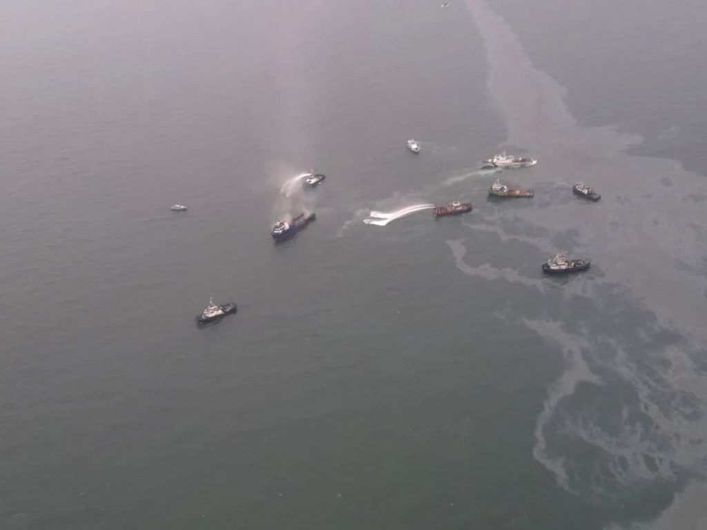 Rescue operation underway after a major fire broke out on an offshore support vessel off Visakhapatnam coast; on Aug 12, 2019. Reportedly one crew member of Coast Guard was missing ...