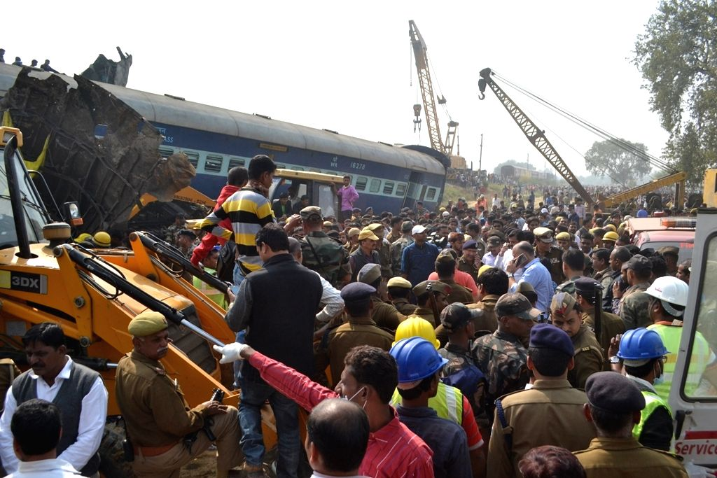 Rescue operation underway as Indore-Patna Express train derailed near Pukhraya station, about 60 km from Kanpur on Nov 20, 2016. At least 96 people were killed and more than 150 injured ...