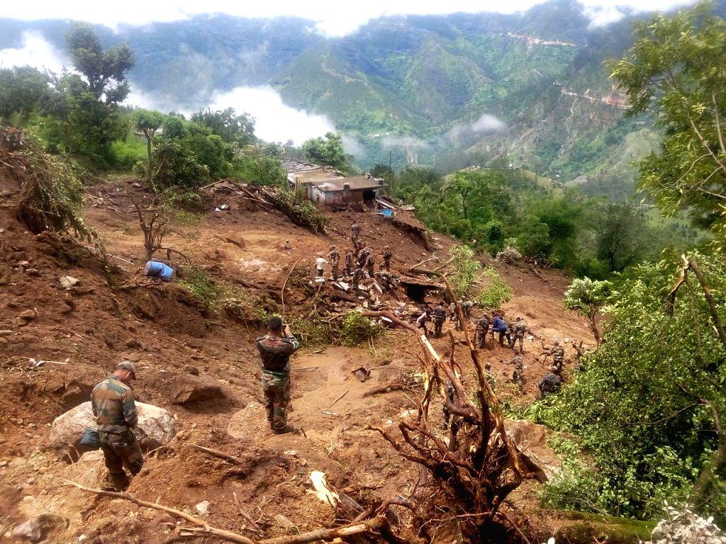 Rescue operation underway at Bastadi village in Pithoragarh district of Uttarakhand on Juy 5, 2016.