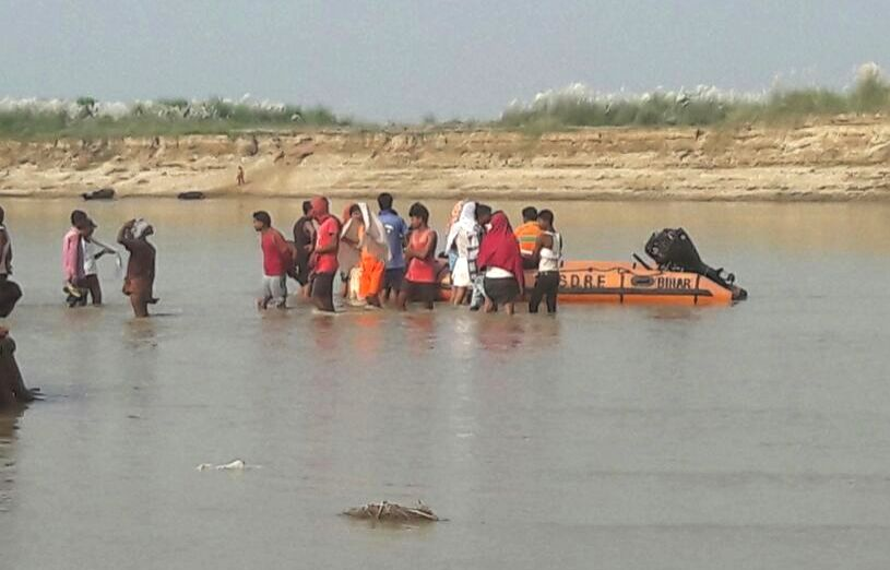 Rescue operations underway after 6 youths drowned while taking a bath in the Ganga river  in Maner, Bihar on Sept 27, 2017.