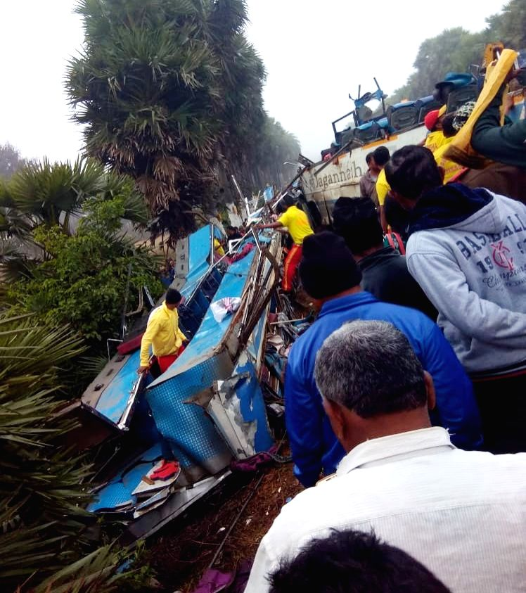 Rescue operations underway after a bus overturned near Kesinga in Odisha's Kalahandi district, on Jan 28, 2019. Reportedly two people were killed and several others injured in the accident.