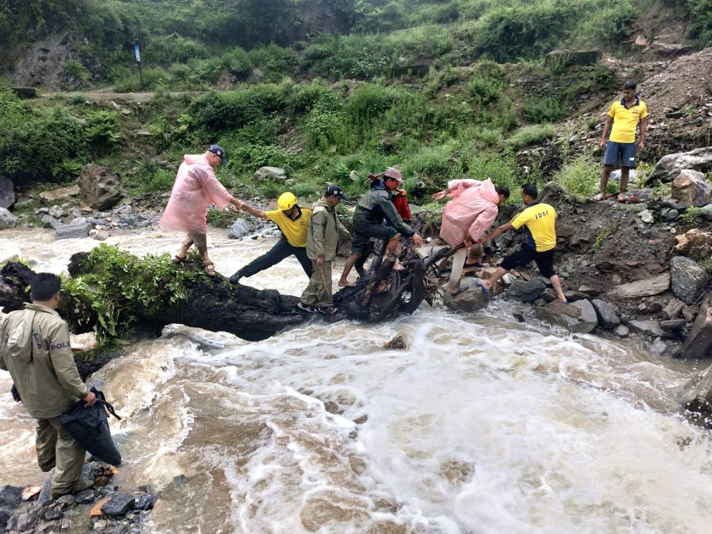 Rescue operations underway after a house collapsed in Ghat village of Uttarakhand's Chamoli district on Aug 12, 2019.