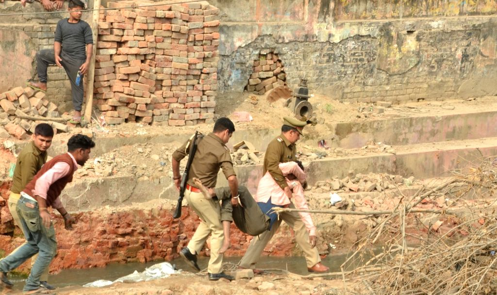Rescue operations underway after an under construction bridge collapsed in Uttar Pradesh's Saharanpur district, killing two labourers, on Nov 27, 2018. The labourers were tightening a ...