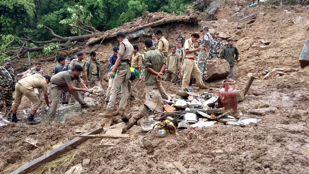 Rescue operations underway at a village buried due to cloudburst in Pithoragarh of Uttarakhand on July 3, 2016.