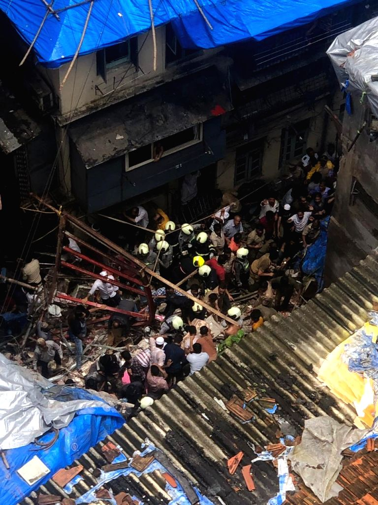 Rescue operations underway at Kesarbai building - a four-storey building that collapsed in south Mumbai's Dongri on July 16, 2019. At least 50 people feared trapped in the debris