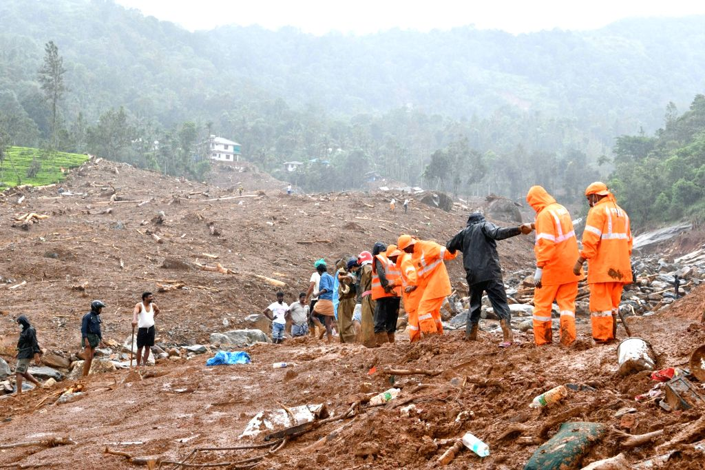 Rescue operations underway at the site of mudslide in Kerala's Wayanad on Aug 11. 2019.