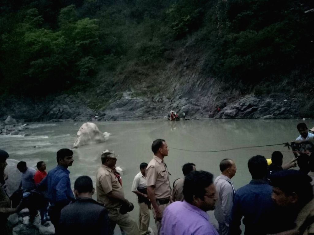 Rescue operations underway at the site where a bus with 29 passengers onboard met with an accident near Dharasu in Uttarakhand's Uttarkashi on May 23, 2017. Reportedly 20 persons are ...