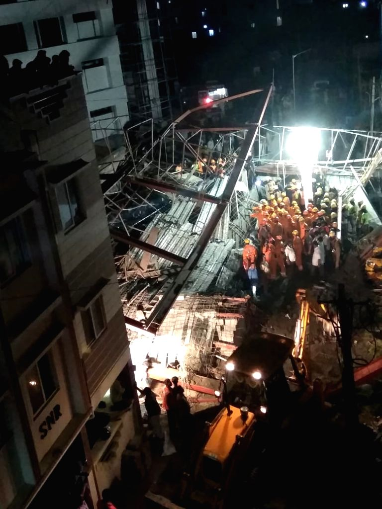 Rescue operations underway at the site where a shed of an under construction hospital collapsed near Taramani in Chennai on July 21, 2018. The incident reportedly left one killed and 28 ...